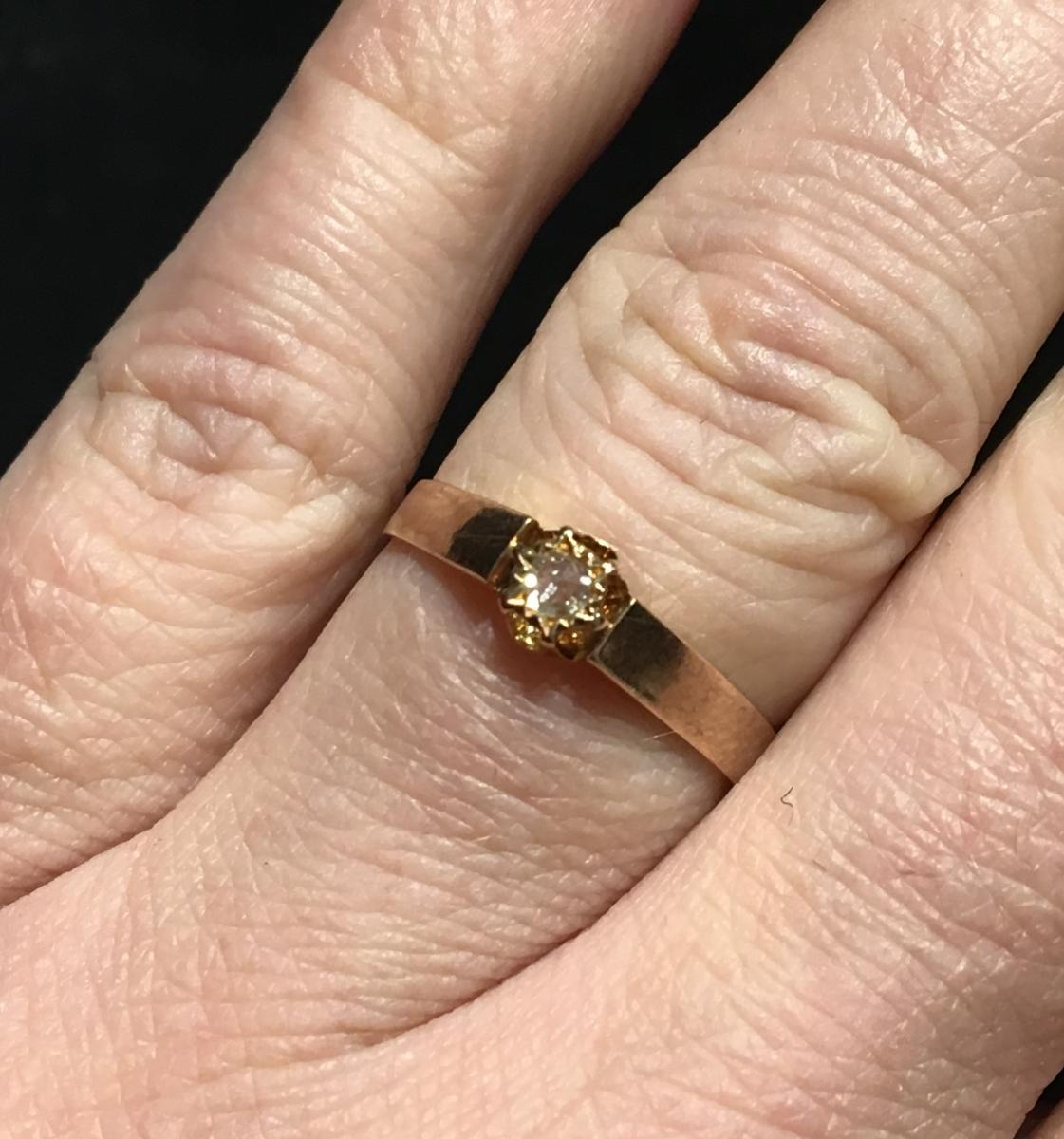 """bague en or rose 18ct sertie d'un diamant """"taille ancienne"""""""