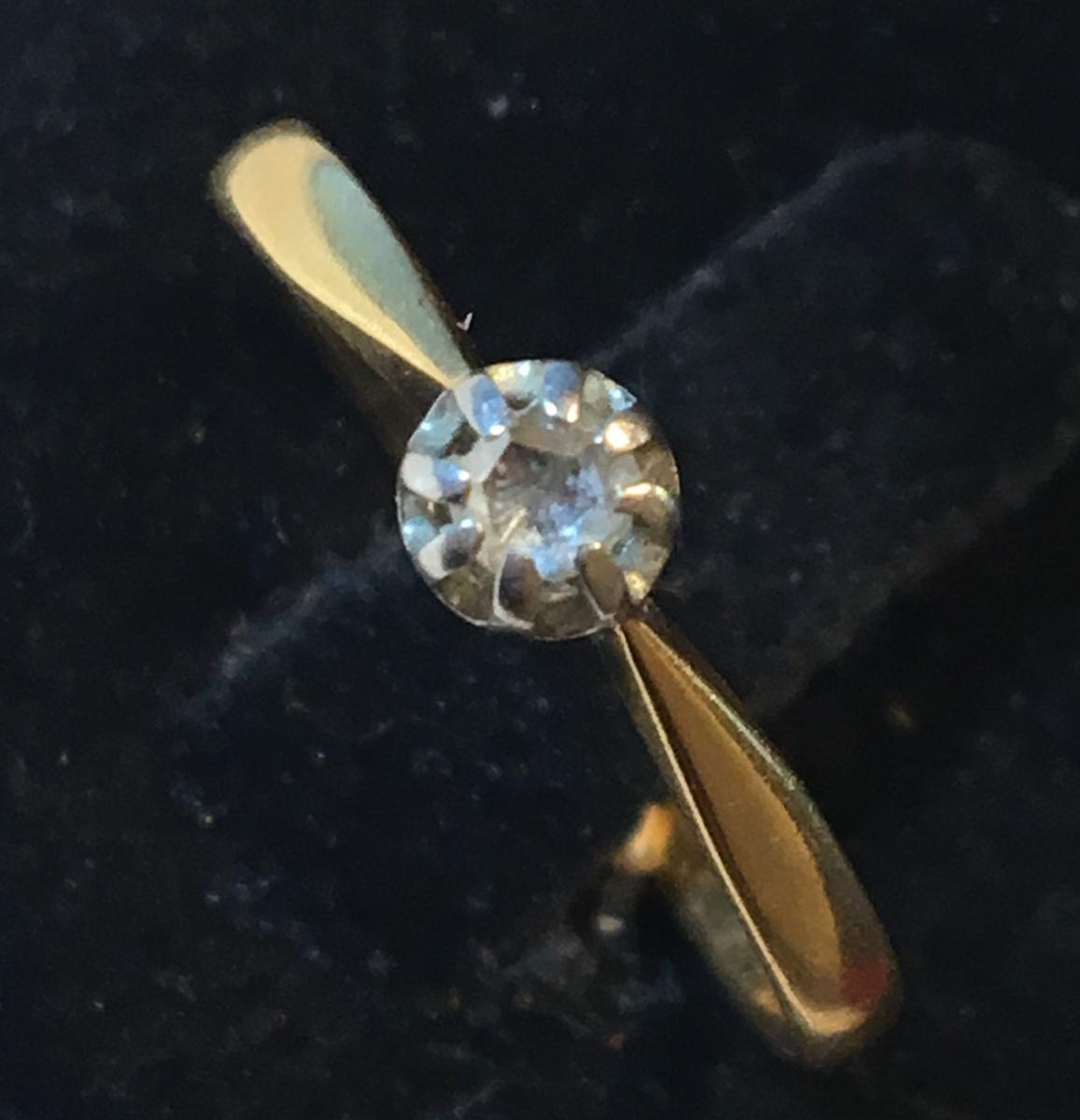 """Bague en Or 18ct sertie d'un diamant"""" taille ancienne"""""""