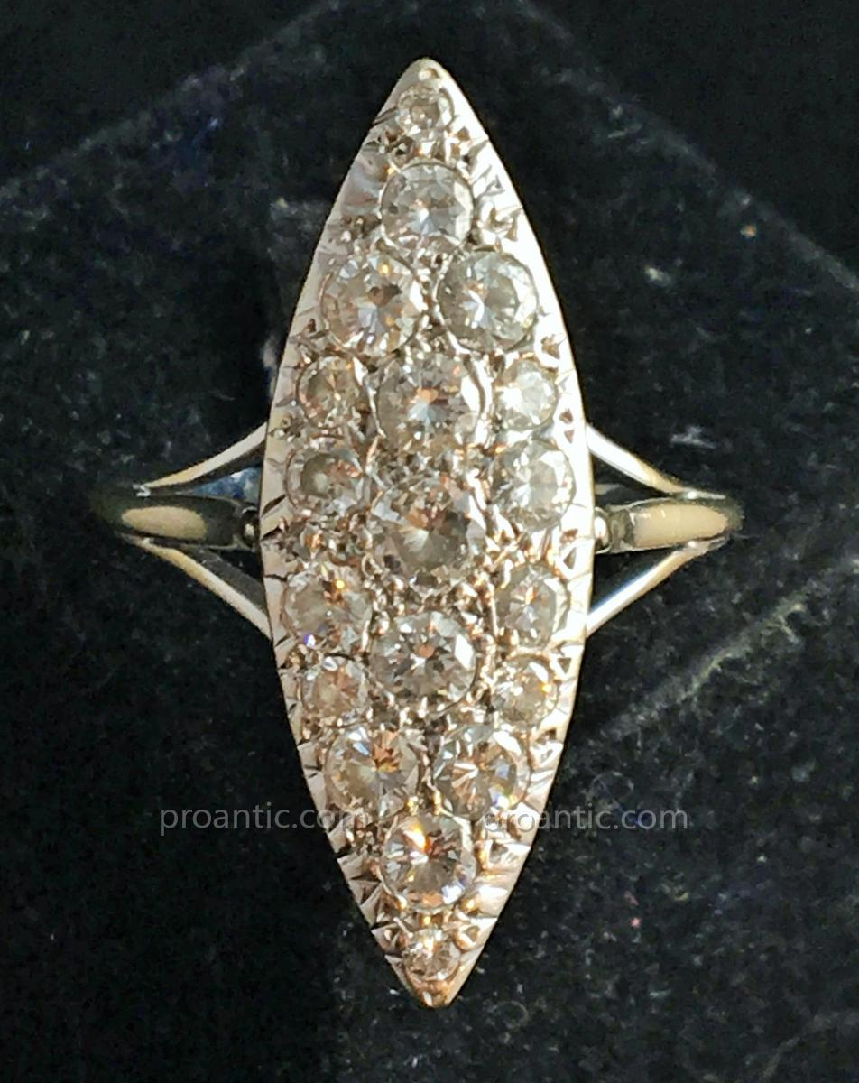 """18ct Gold Marquise Ring Set With Diamonds """"old Size"""""""