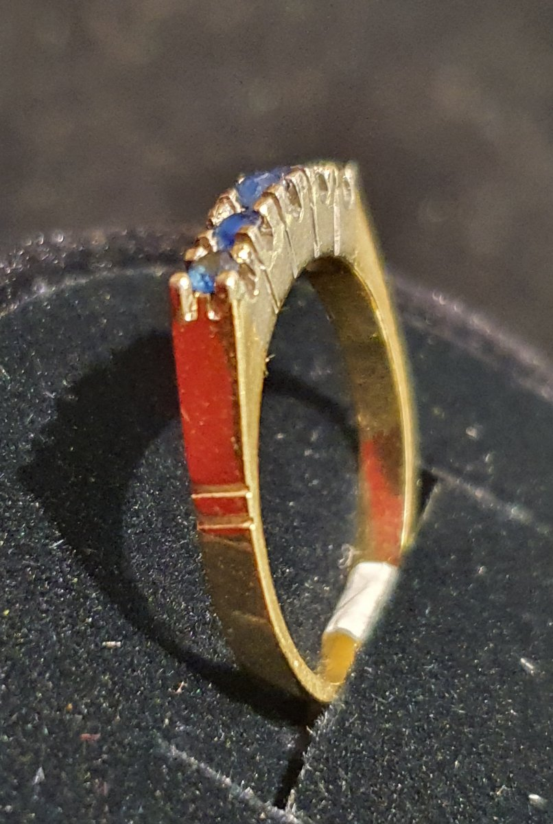 18ct Gold Ring Set With Sapphire Paving-photo-3