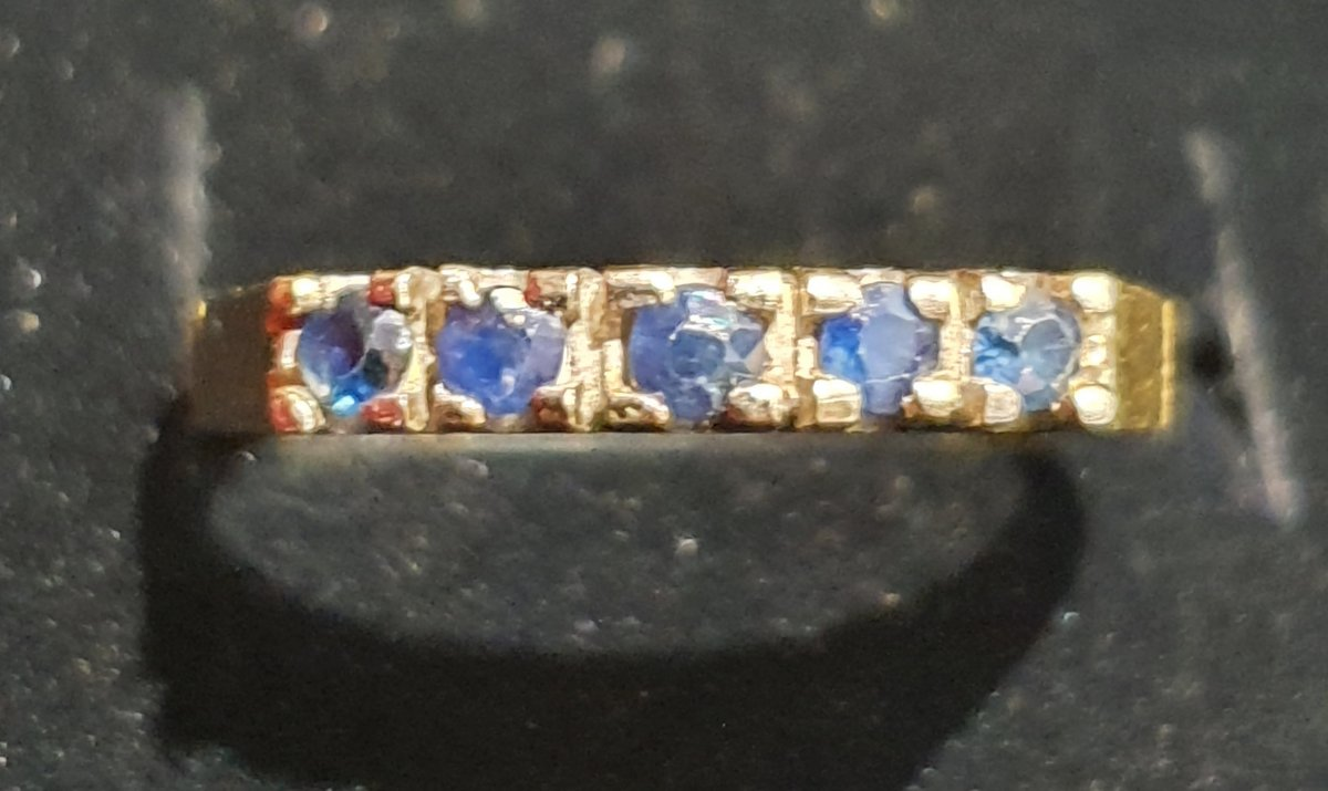 18ct Gold Ring Set With Sapphire Paving-photo-4
