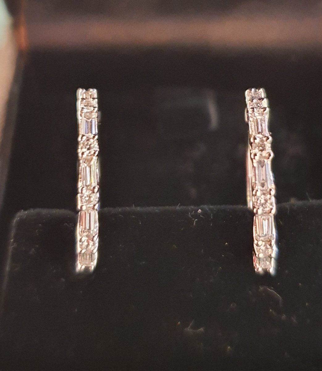 18ct Gold Earrings Set With Baguette And Modern Diamonds