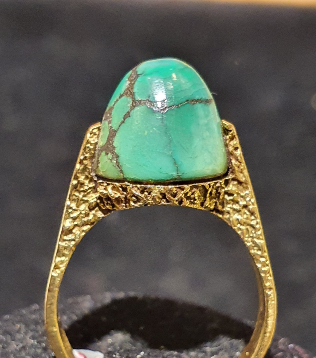 18ct Gold And Green Turquoise Ring