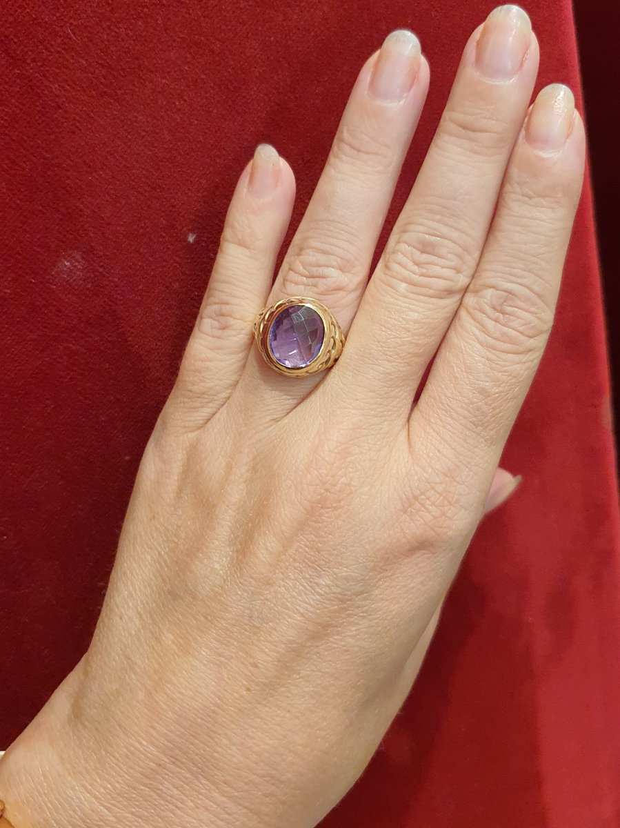 18kt Gold Ring Set With An Amethyst