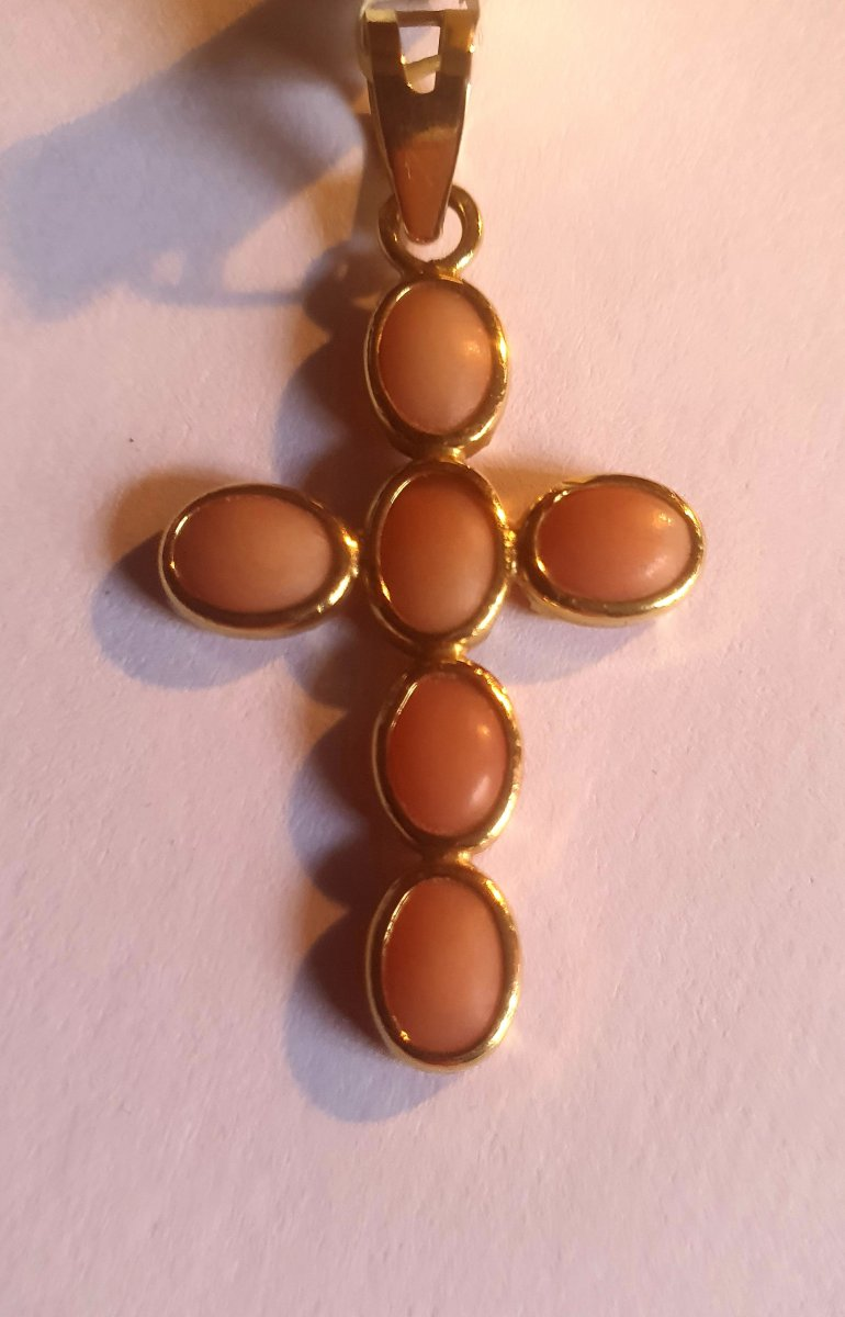Cross Set With Pink Coral, Cabochons