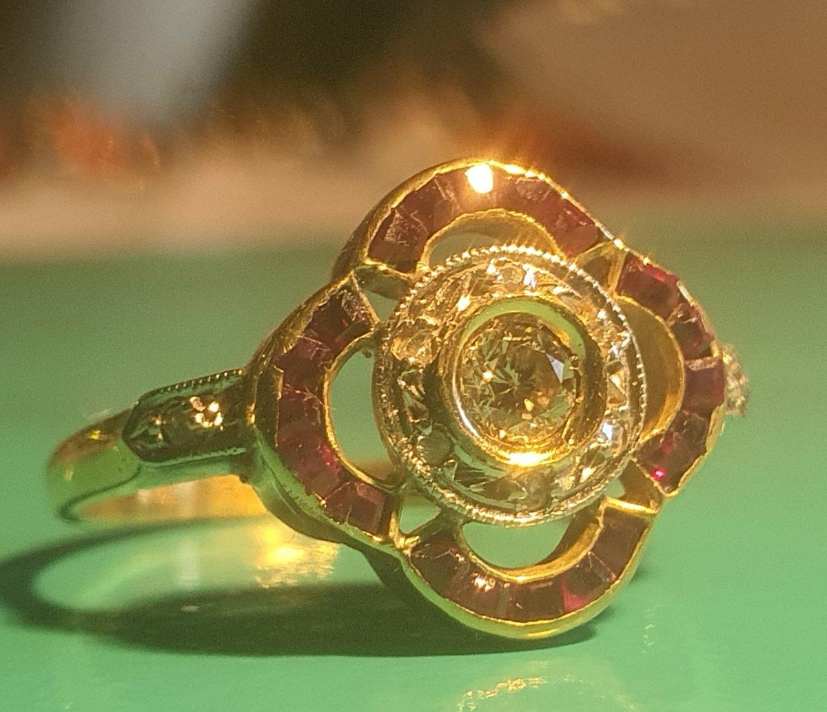 Art Deco Ring, Diamonds And Rubies