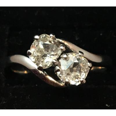 18ct White Gold Ring Set With Two Diamonds