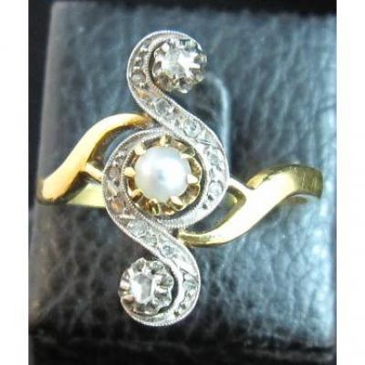 "Bague ancienne en or 18ct sertie perles et diamants"" taille rose"""