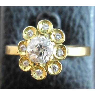 18ct Gold Ring Set With Old Fashioned Diamonds