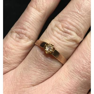 18ct Rose Gold Ring Set With A Diamond