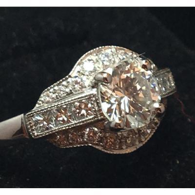 """Bague diamant et or 18ct sertie d'un central de 0.80ct """"taille moderne"""""""