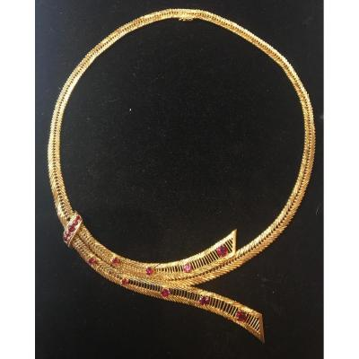 18ct Gold Necklace Set With Rubies 1950s
