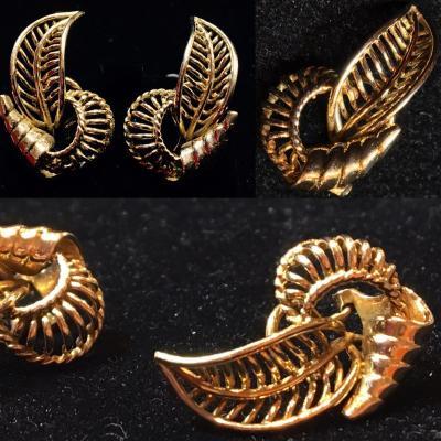 Earrings, 1950s, 18ct Gold