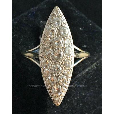 "Bague Marquise En Or 18 Ct Sertie Diamants"" Taille Ancienne"""