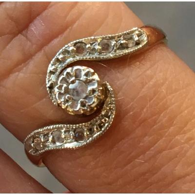 18ct Gold Ring Set With Old Diamonds