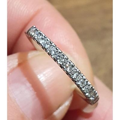 Demi Alliance Or 18ct  Pavage Diamants