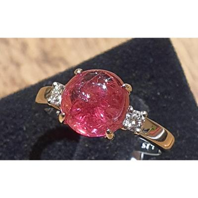 Bague en or 18ct sertie tourmaline et brillants