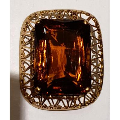 Broche pendentif or 18ct sertie citrine couleur cognac