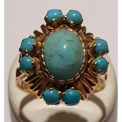 18ct Gold Ring Set With Turquoise
