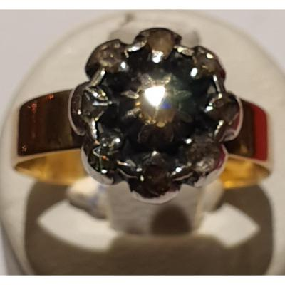18ct Gold And Silver Ring Set With Diamonds