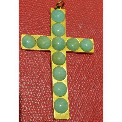 Croix En Or 18ct Sertie De 11 Cabochons De Jades