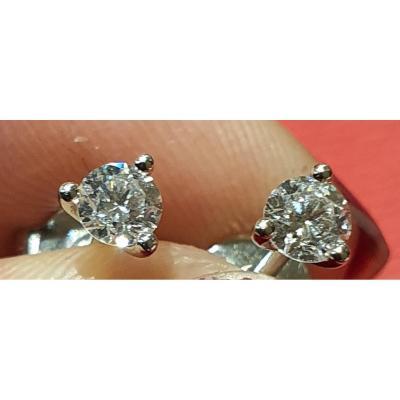 boucles d'oreille or 18ct serties deux diamants