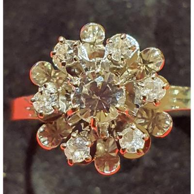 Ring In 18ct Gold Set With A Paving Of Diamonds, Flower