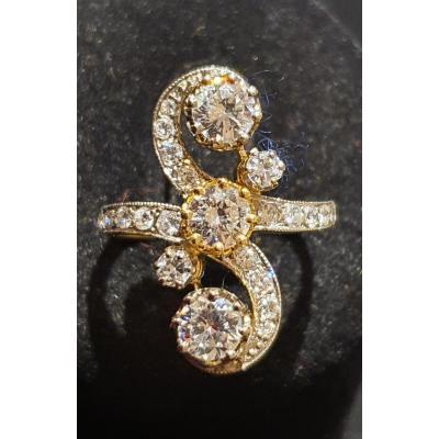 bague en or 18ct sertie epoque Napoléon III de diamants taille ancienne et taille moderne