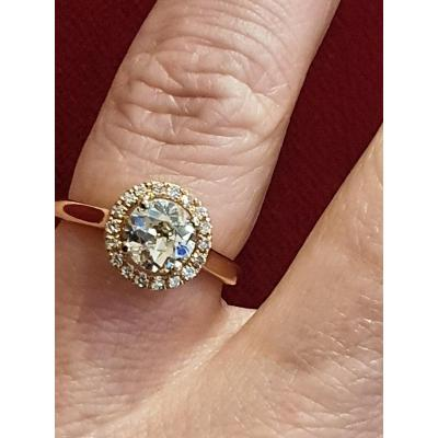 Bague Or Rose 18ct Sertie Diamant Taille Ancienne