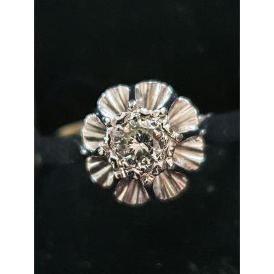 bague en or 18ct sertie d un diamant taille ancienne