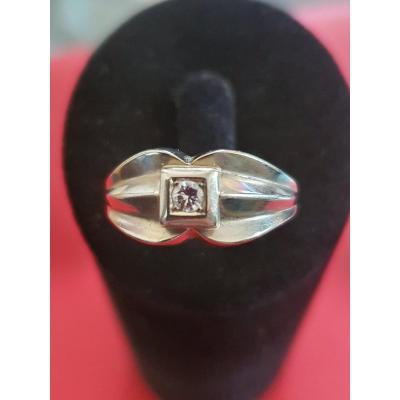 Bague En Or 18ct Sertie Diamant Taille Ancienne