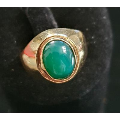 18ct Gold Ring Set With Green Agate