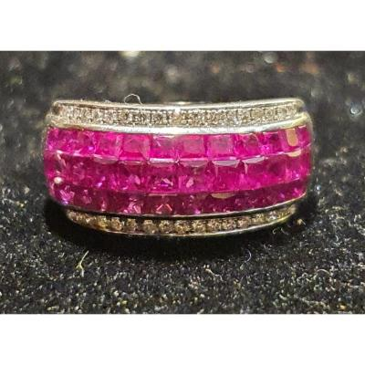 18ct Gold Ring Set With Calibrated Rubies And Brilliant Paving