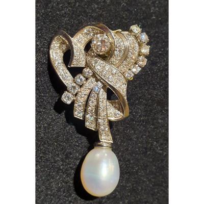 pendentif en platine serti de diamants taille ancienne pour 3,50ct environ en totalité et perle