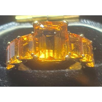 Bague En Or 18ct Jaune Sertie Citrines