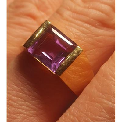18ct Gold Ring Set With An Amethyst