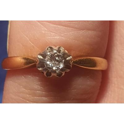 18ct Gold Ring Set With Diamond Size Old Period End 19 Eme Napoleon