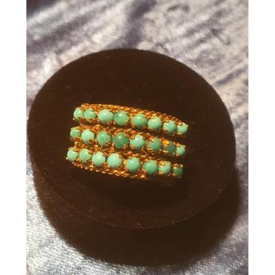 18ct Gold Ring Set With Natural Turquoise Cabochons