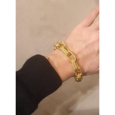 18k Yellow Gold Bracelet With Big Links