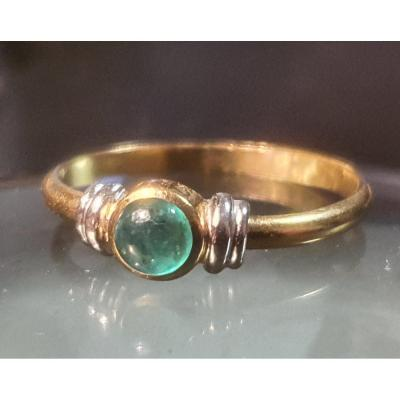 Bague En Or 18ct Sertie D Un Cabochon Emeraude