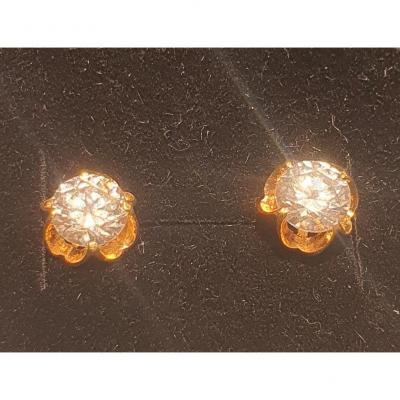 Boucles d'Oreille En Or 18ct Sertie Oxyde De Zirconium