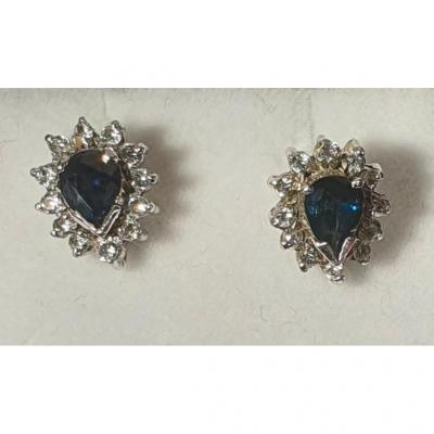 Boucles d'Oreille En Or 18ct Serties Saphirs Entourées De Brillants