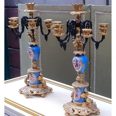 Pair Of Candelabra In Gilt Bronze And Sèvres Porcelain
