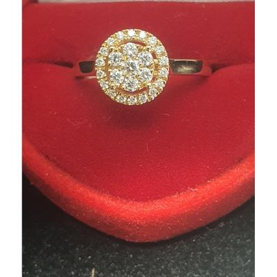 Bague En Or  Rose18ct Sertie De Brillants