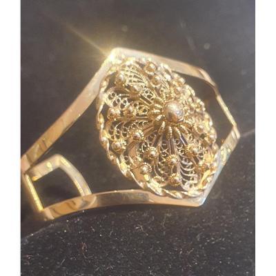 Rigid Bracelet With Filigree Decorations