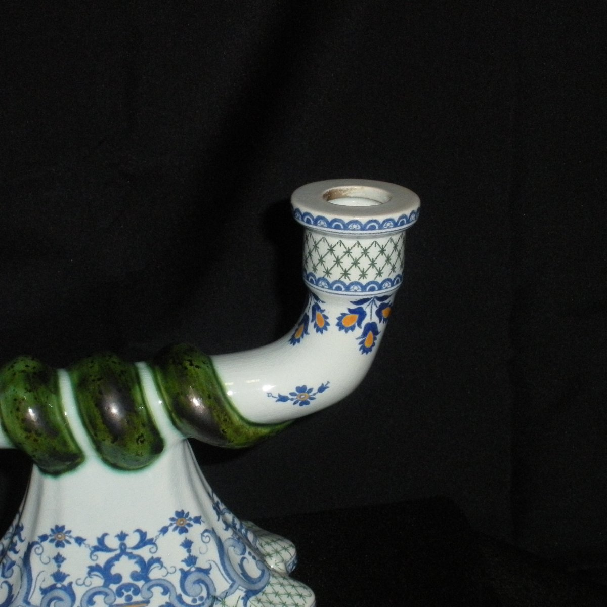 Pair Of Gien Earthenware Chandeliers Decor Rouen-photo-1