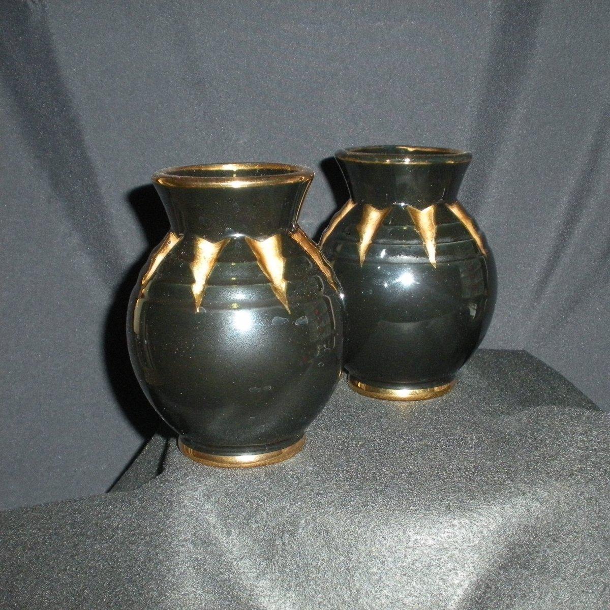 Paire de Vases en Faïence de Saint Clément