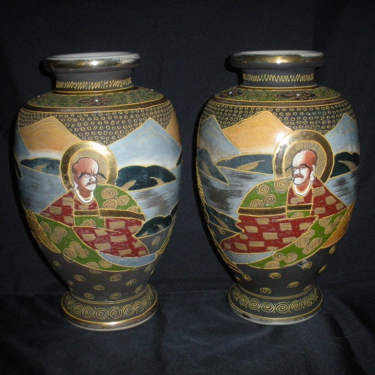 Paire de vases Satsuma début du 20ème siècle-photo-2