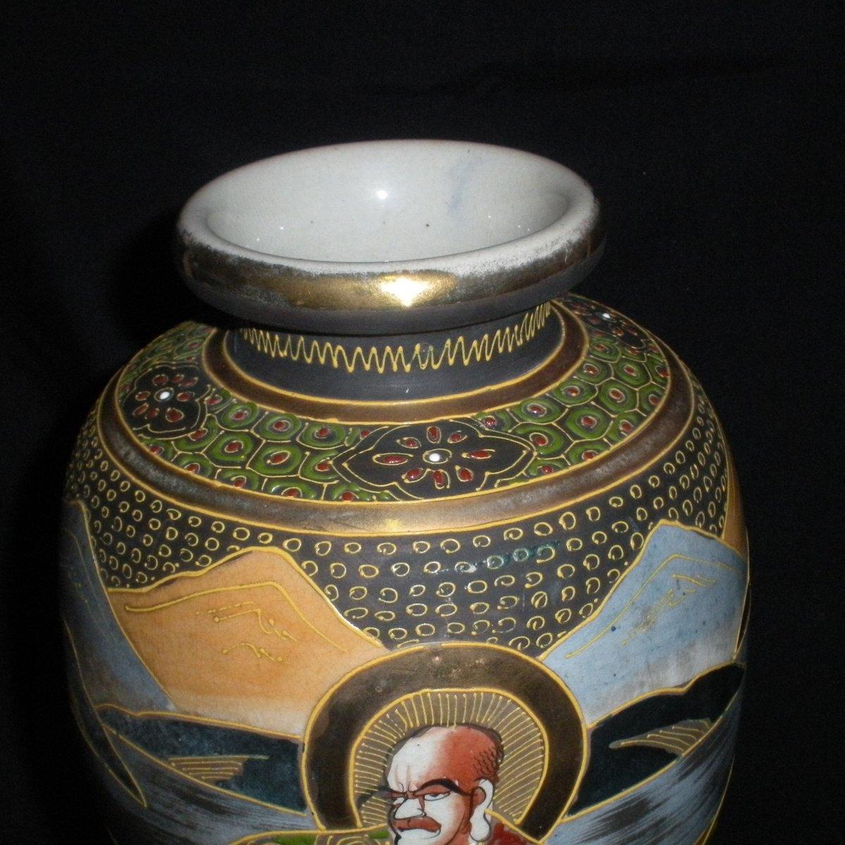 Paire de vases Satsuma début du 20ème siècle-photo-1