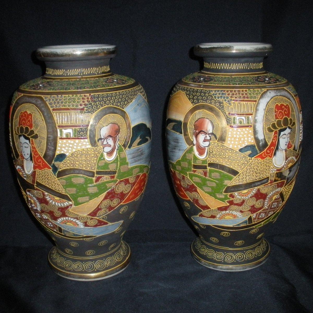 Paire de vases Satsuma début du 20ème siècle